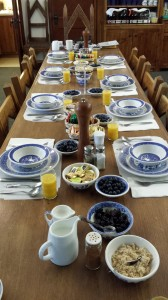 breakfast table with blue willow china